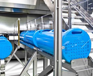 Equipamiento alimentario azul de plástico por rotomoldeo